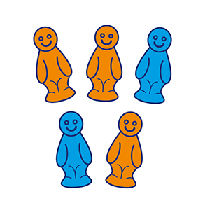 Five jelly babies