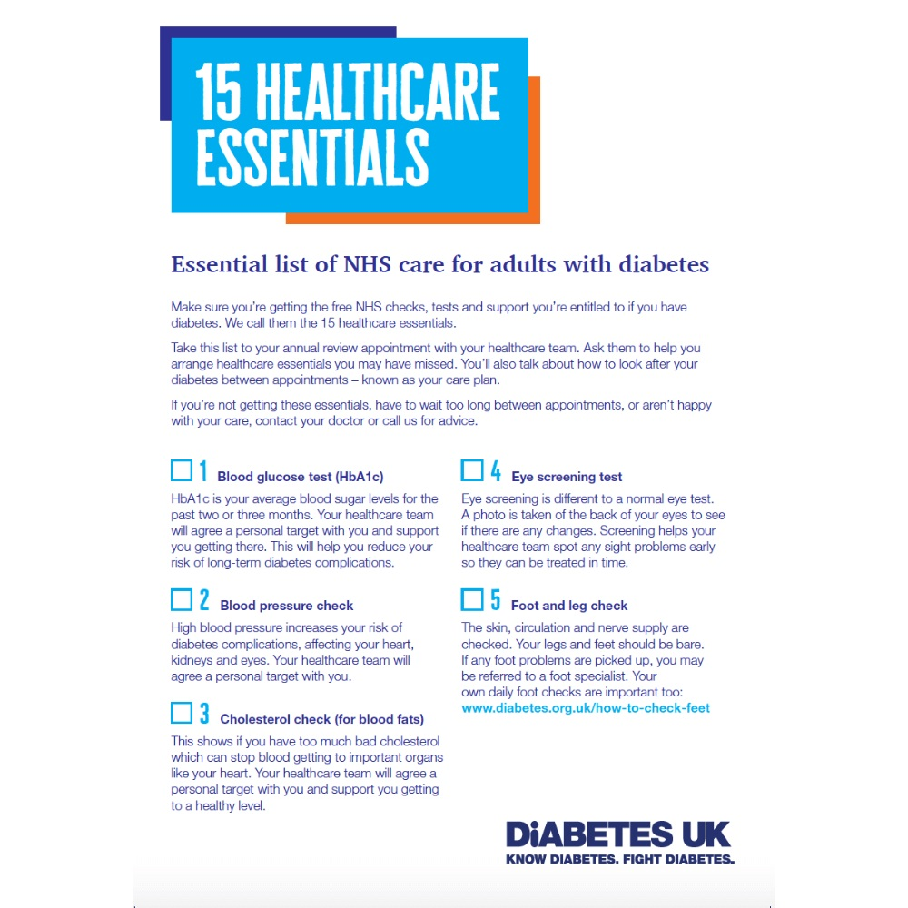 15 healthcare essentials, essential list of NHS care for adults with diabetes