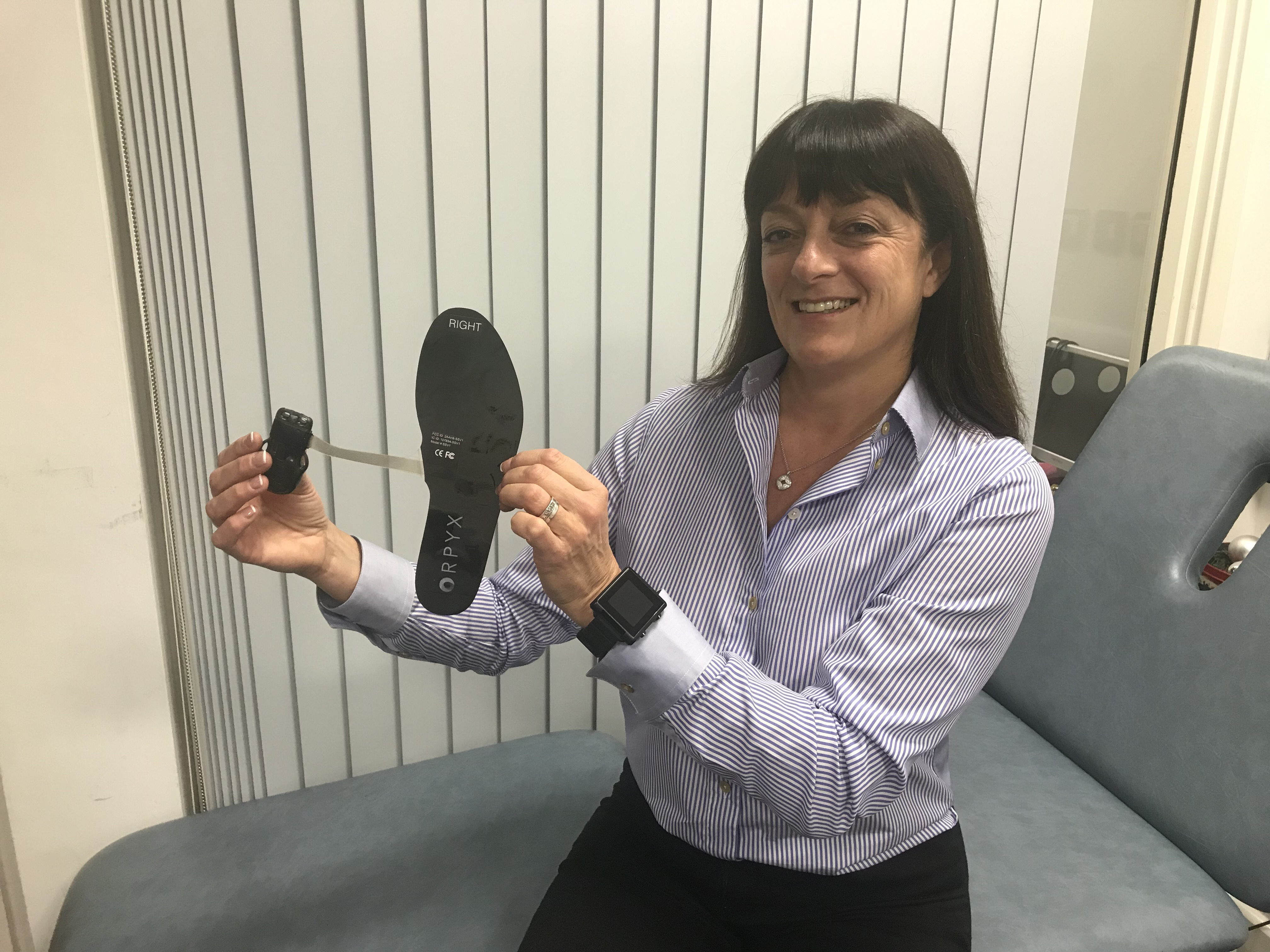 Dr Caroline Abbott with smart insole system