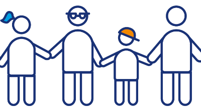 Illustrated people holding hands in straight line