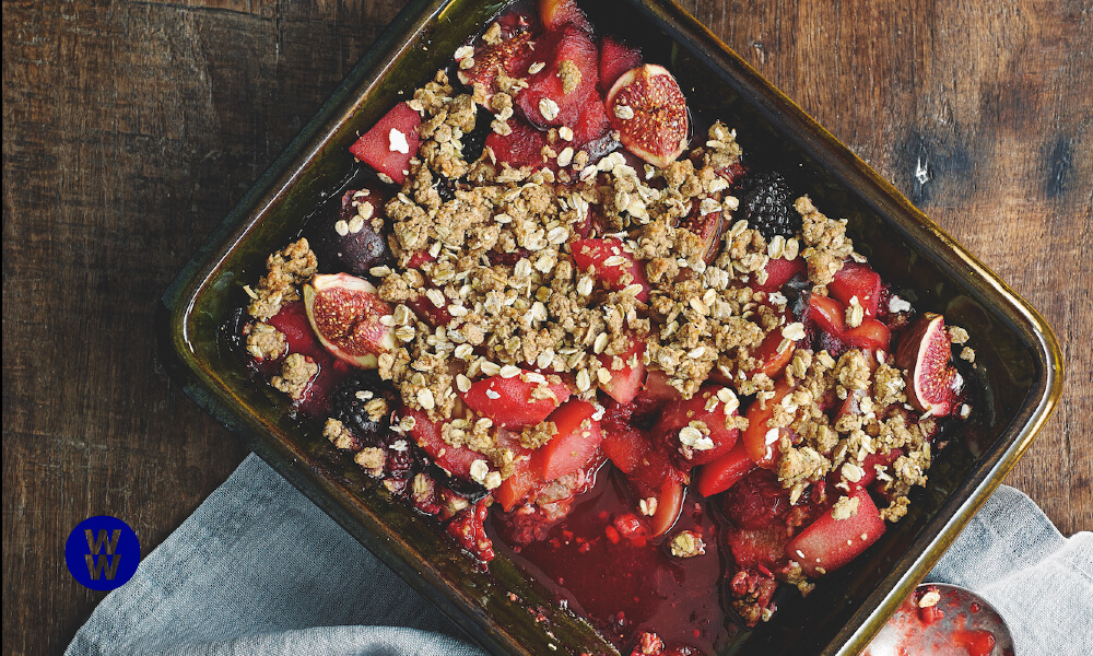 Poached fruit crumble