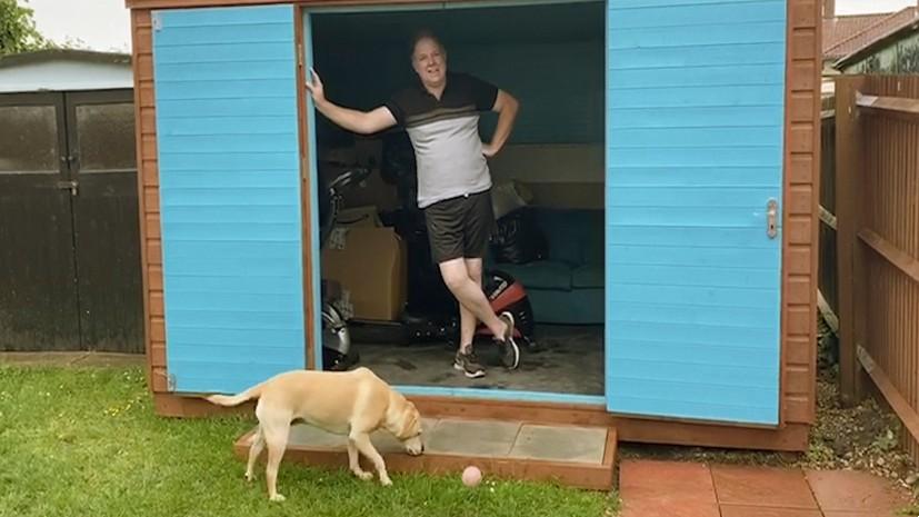 Darren Armitstead in his homebuilt gym