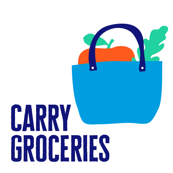 An icon of grocery to show how to get active by carrying it