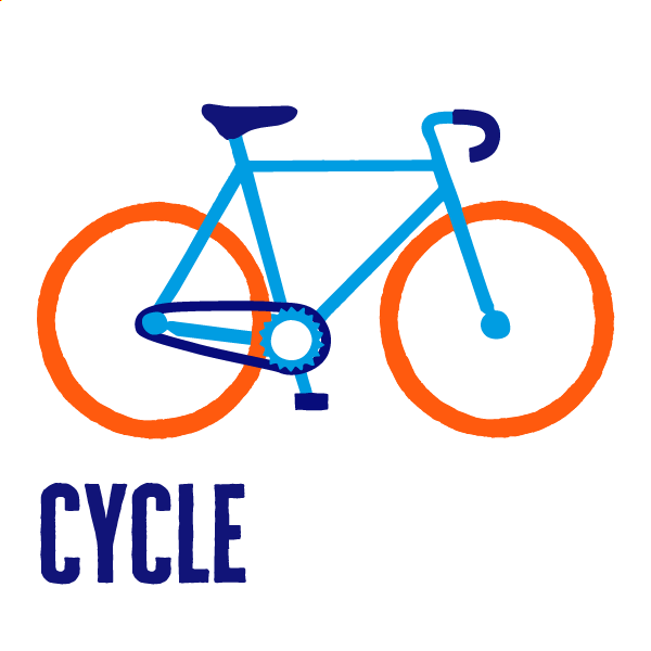 An icon of cycling to show how to get active