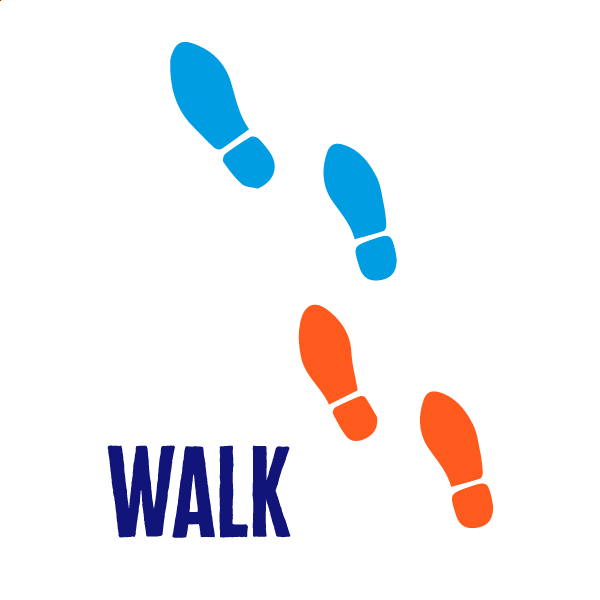An icon of walking to show how to get active