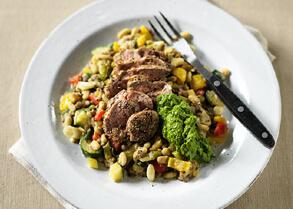 Lamb fillet with spiced lentil pilaf