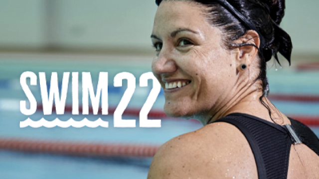 A swimmer in the pool as she takes on Swim22
