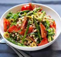 Tomato, olive, asparagus and bean salad
