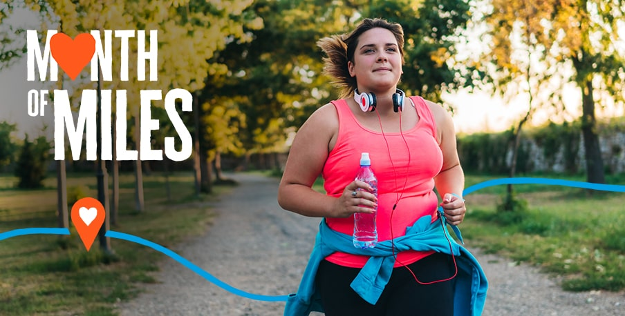 A lady running as she completes her Month of Miles challenge