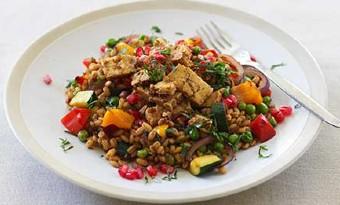 Barley pilaf with tofu