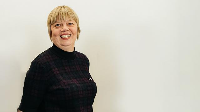 Pauline smiling