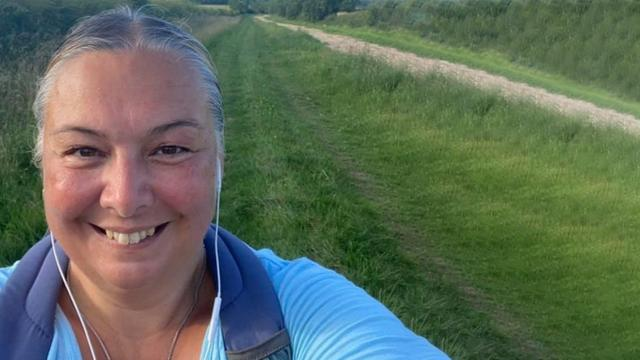 Zena smiling as she takes on the One Million Step Challenge