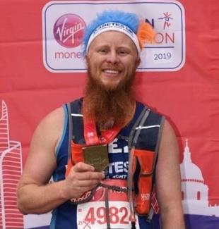 Spencer Hoadly after completing 2019 Virgin London Marathon for Diabetes UK