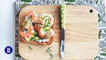 Prawn and dill open sandwich