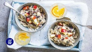 Apple and cranberry bircher muesli in a bowl
