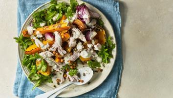 Roast squash & crunchy chickpea chicken salad