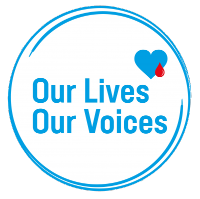 'Our Lives Our voices' in a blue circle with a small blue heart