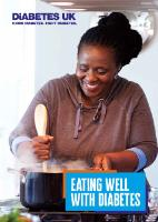 Front cover of Eating well with diabetes guide, featuring a smiling woman stirring a pot