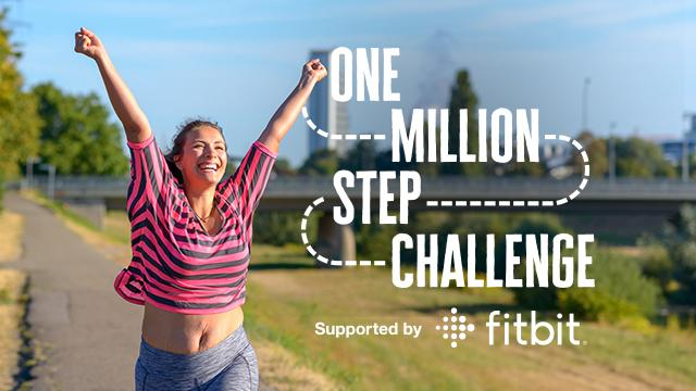 A lady celebrating completing her One Million Step Challenge