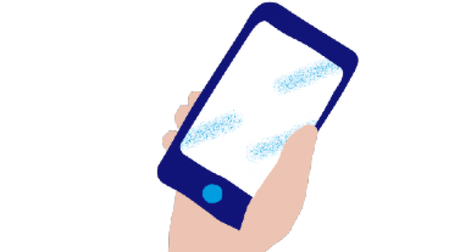 Illustration of a hand holding a mobile phonr