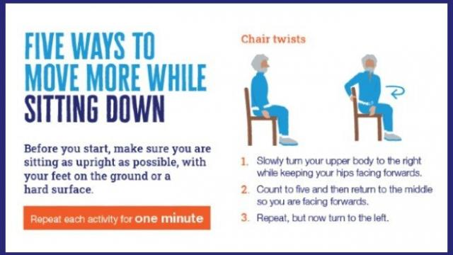 A snippet of the free Diabetes UK Five Ways To Move More While Sitting Down pdf poster