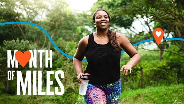 A lady running as she completes her Month of Miles