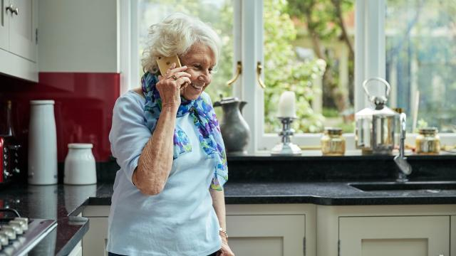 A lady on the phone to the Diabetes UK physical activity helpline service
