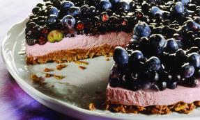 Blueberry yogurt cake with muesli base
