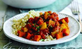 Sweet potato, chickpea and carrot tagine with couscous