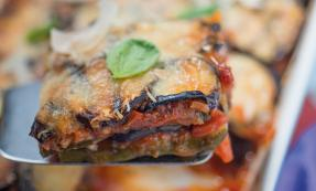 Aubergine and courgette Parmesan bake