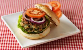 Black eyed bean, feta and herb burgers