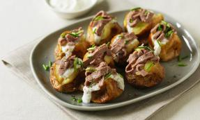 Baby baked potatoes with beef and horseradish