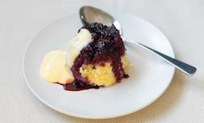 Blackberry upside down puddings