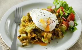 Brussels and bacon hash with poached egg