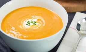 Roast butternut squash and red lentil soup