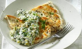 Chicken escalope with garlic and parsley sauce
