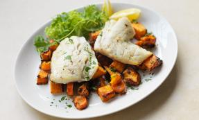 Cod with roasted winter veggies