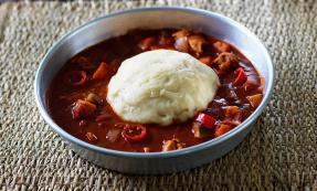 Fufu with chicken pepper soup
