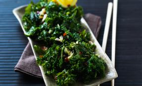 Stir-fried kale with chilli, ginger and garlic