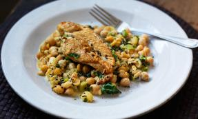 Lemon and herb chicken with chickpeas