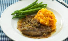 Liver and onions with neeps, tatties and beans
