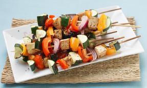 Marinated tofu kebabs