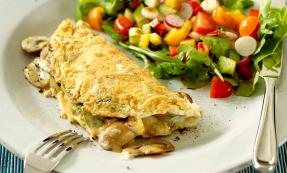 Mushroom and spring onion omelette