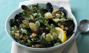 Mussels and spring vegetable soup