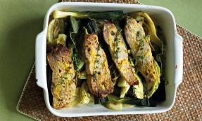 Braised mustard pork and vegetables