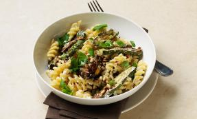 Pasta with aubergine, courgettes, ricotta and pine nuts