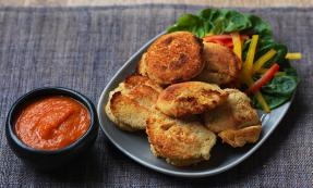 Phulouri (split pea fritters with hot sauce)