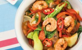 Spicy prawns and pak choi stir-fry