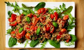 Roasted tomato and pepper bulgar wheat salad