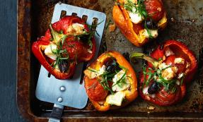 Roasted peppers with feta cheese